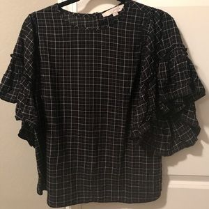 Loft black and white patterned blouse